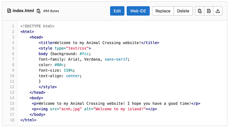 Screenshot of the code editor in GitLab with the HTML for my page.