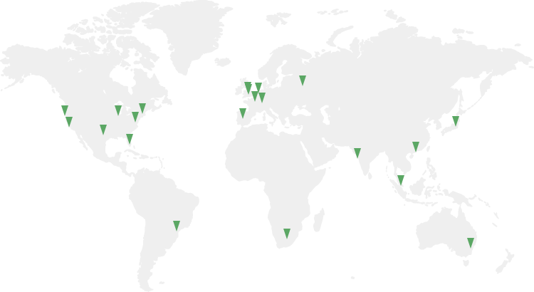 Map of the world showing all our CDN nodes.