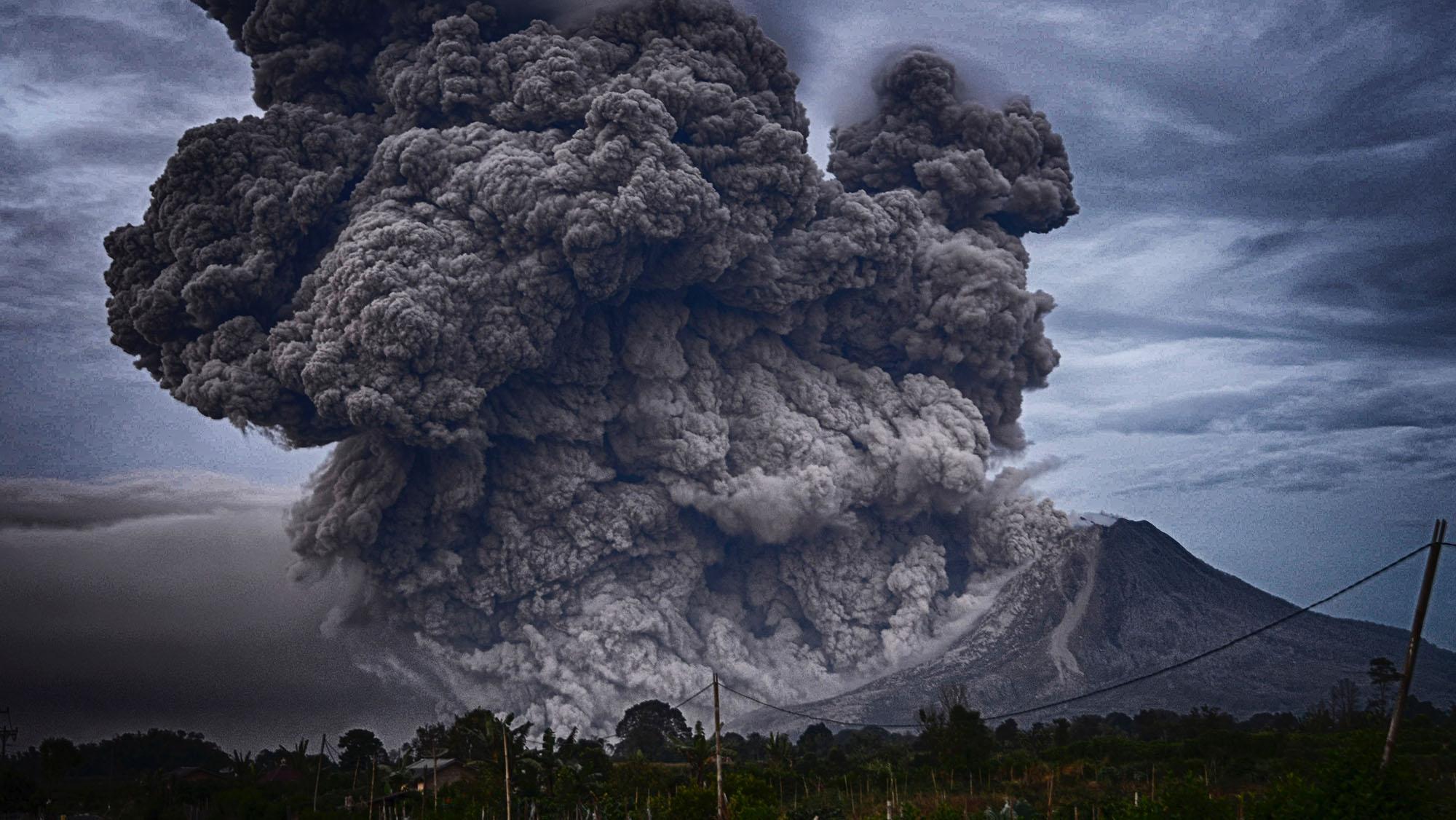 A volcano erupting in Indonesia