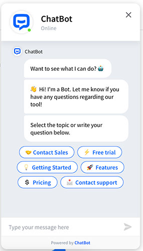 Screenshot of the chatbot window from Chatbot.com