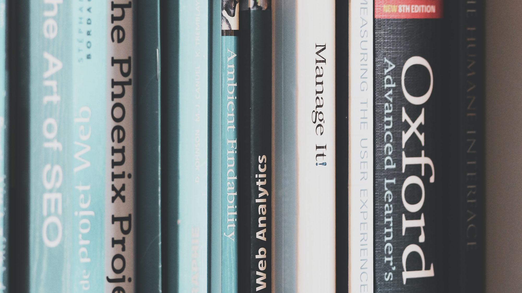 Stack of books on a bookshelf