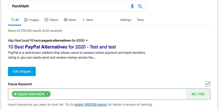 Screenshot of the RankMath plugin, showing the Search Engine display test feature.