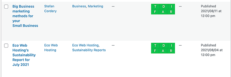 Screenshot showing the SEO Framework plugin in use on this site, showing the stoplight listings for two blog posts.