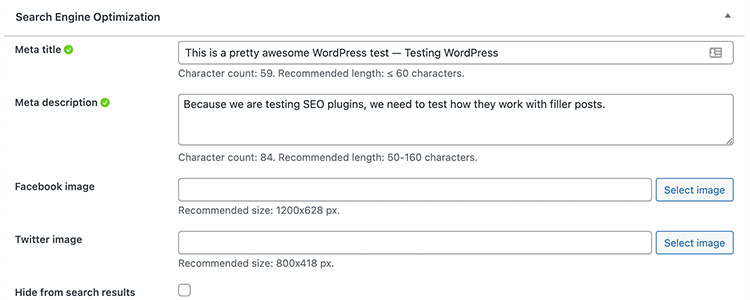 Screenshot of the Slim SEO plugin being used on a test site, showing the optimisation features for a single post.